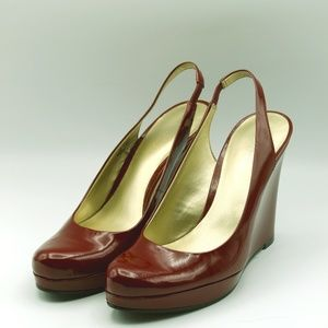 NINE WEST Wedge Pump Red shoes Size 7.5 M
